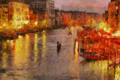 Art Print featuring the painting Lone Gondolier At Night by Kai Saarto