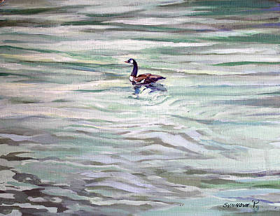 Painting - Lone Goose On Hammersley by Synnove Pettersen