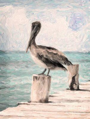 Adam Asar Painting - Lone Pelican by Adam Asar