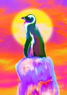 Climate Change Painting - Lone Penguin  by Nick Gustafson