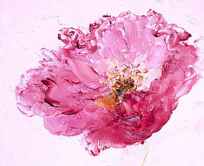 One Single Pink Poppy Flower Painting - Lone Pink Poppy by Jan Matson