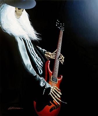Jerry Garcia Painting - Lone Player by Gary Kroman