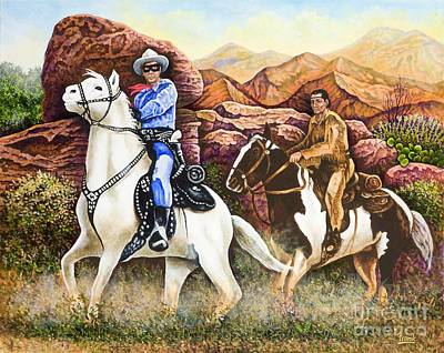 Lone Ranger And Tonto Ride Again Art Print by Michael Frank