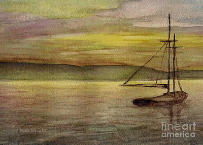 Painting - Lone Sail Boat by Nan Wright