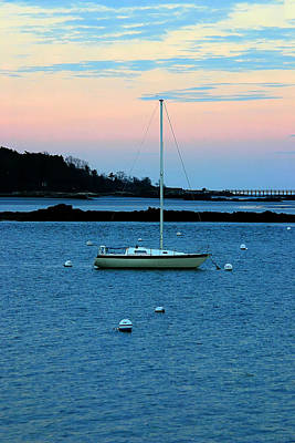 Lone Sailboat At York Maine Art Print