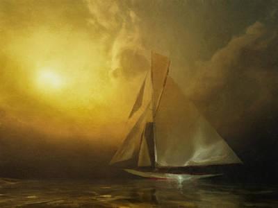 Nonrepresentational Digital Art - Lone Sailor by Lonnie Christopher