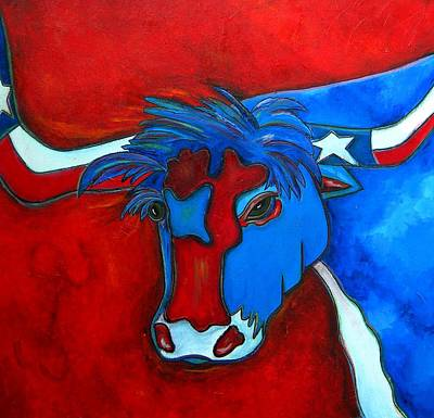 Texas Flag Painting - Lone Star Longhorn by Patti Schermerhorn