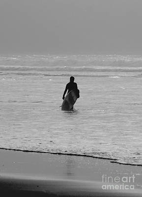 Surf Photograph - Lone Surfer by Terri Waters