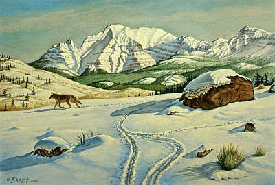 Mountain Snow Landscape Painting - Lone Tracker by Paul Krapf