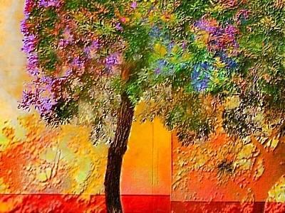 Digital Art - Lone Tree Against Orange Wall - Horizontal by Lyn Voytershark