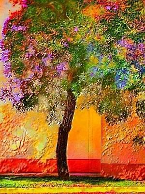Digital Art - Lone Tree Against Orange Wall - Vertical by Lyn Voytershark