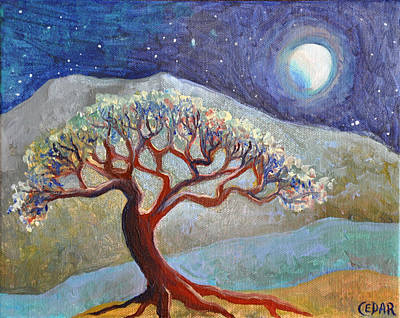 Tree Roots Painting - Lone Tree At Moonrise by Cedar Lee