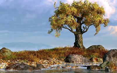 Landscapes Digital Art - Lone Tree by a Stream by Daniel Eskridge