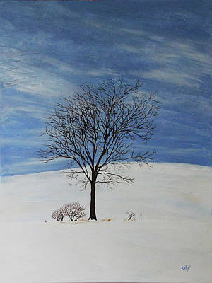 Snowscape Painting - Lone Tree In Winter by Kevin Doty