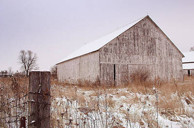 Indiana Photograph - Lone Weathered Barn In Winter by Amy Lucid