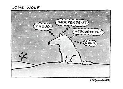 Winter Drawing - Lone Wolf: by Charles Barsotti