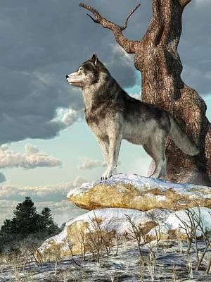 Digital Art - Lone Wolf by Daniel Eskridge