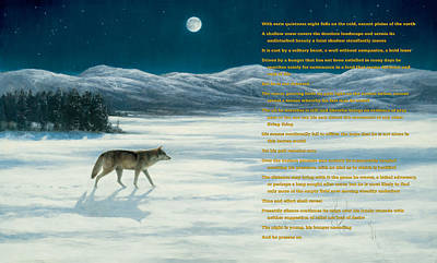 Painting - Lone Wolf In Winter   Version 1 by Steve Swavely