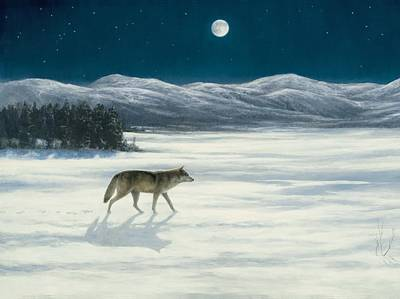 Painting - Lone Wolf In Winter   Version 2 by Steve Swavely