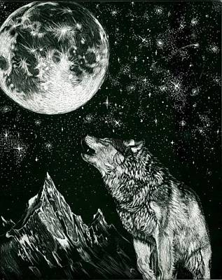 Wolves Drawing - Lone Wolf by Lawrence Saunders