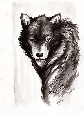 Drawing - Lone Wolf by Miguel Karlo Dominado