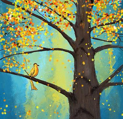 Brilliant Painting - Lone Yellow Bird by Lourry Legarde