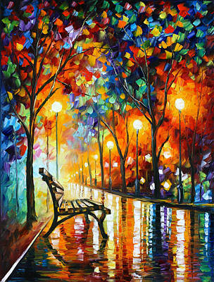 Oil Landscape Painting - Loneliness Of Autumn by Leonid Afremov