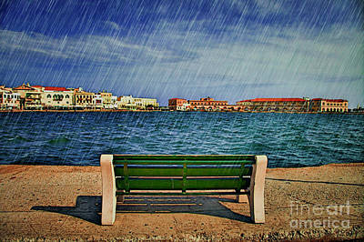 Lonely Bench In Rain Art Print