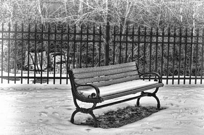 Photograph - Lonely Bench In Winter by Beth Sawickie