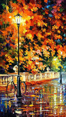 Lonely Bicycle - Palette Knife Oil Painting On Canvas By Leonid Afremov Original