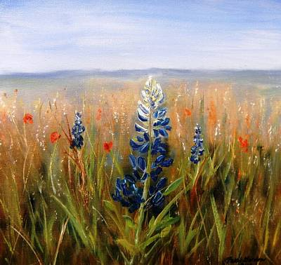 Lonely Bluebonnet Art Print