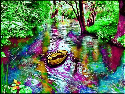 Rowboat Digital Art - Lonely Boat by Daniel Janda