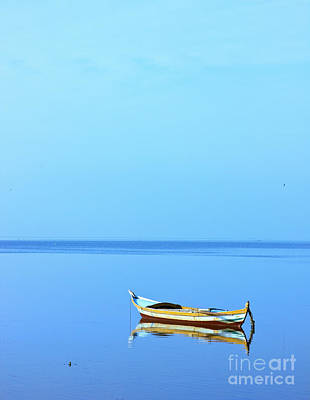 Art Print featuring the photograph Lonely Boat by Mohamed Elkhamisy
