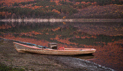 Lonely Boat On An Autumn Lake Shore Original