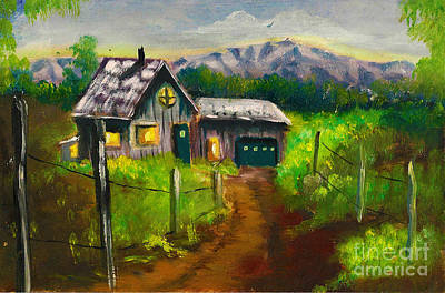 Painting - Lonely Cabin by Donna Chaasadah