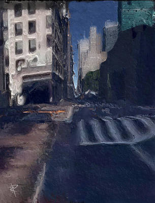 City Scenes Mixed Media - Lonely City by Russell Pierce