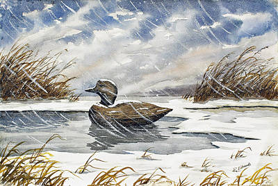 Marsh Scene Painting - Lonely Decoy In Snow by Raymond Edmonds