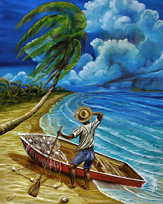 Painting - Lonely Fisherman by Steve Ozment