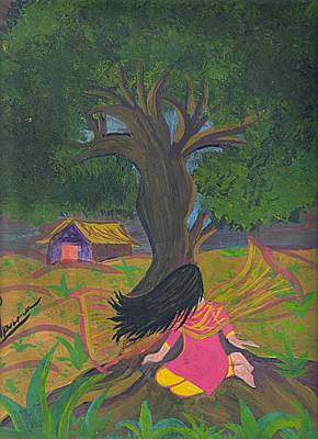 Syeda Ishrat Painting - Lonely Girl by Syeda Ishrat
