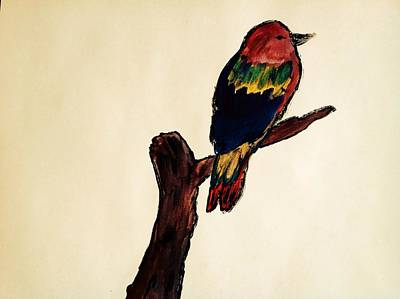 Colourfull Painting - Lonely Kingfisher by Gurkirat Gill