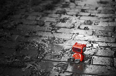 Puddle Photograph - Lonely Little Robot by Scott Norris