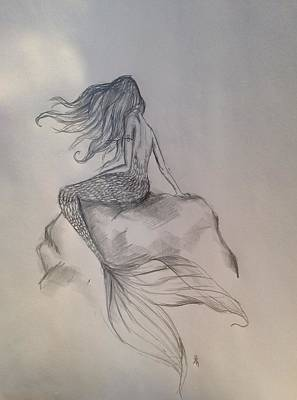 Crying Drawing - Lonely Mermaid by Shelby Rawlusyk