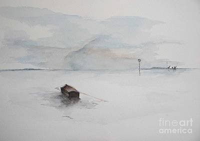 Art Print featuring the painting Lonely Mooring by Sibby S