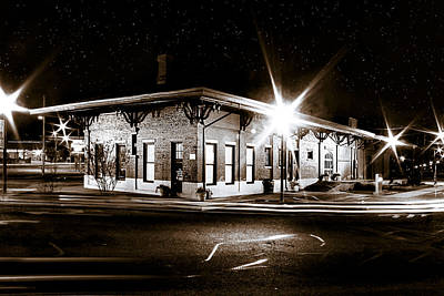 Photograph - Lonely Old Night - Montezuma Train Depot - Georgia by Mark E Tisdale