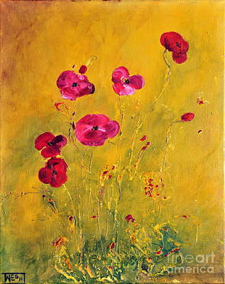 Lonely Poppies Art Print by Teresa Wegrzyn