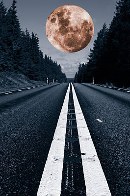 Lonely Road And Full Moon Art Print