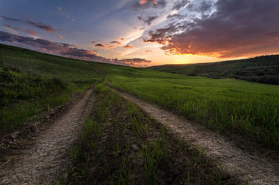 Sunset Photograph - Lonely Road by Marco Calandra