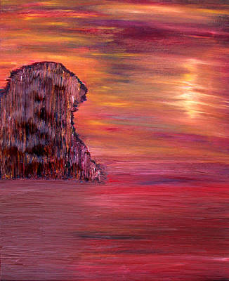 Art Print featuring the painting Lonely Rock by Vadim Levin