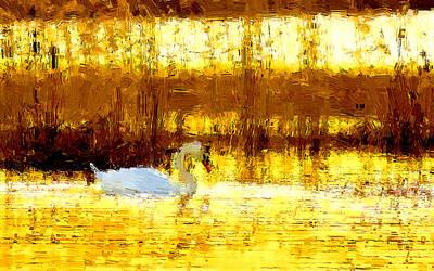 Bird Painting - On Golden Pound by VRL Art