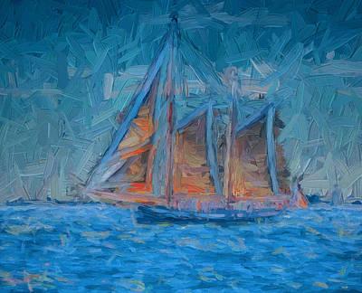 Lonely Ship Approaching Night Art Print